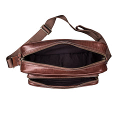 Image 6 of the Santino' Chestnut Handmade Veg-Tanned Leather Messenger Bag With Lock