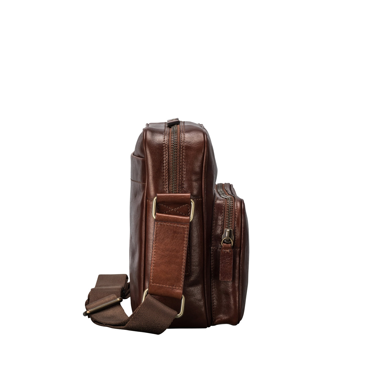 Image 3 of the Santino' Chestnut Handmade Veg-Tanned Leather Messenger Bag With Lock