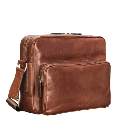 Image 2 of the Santino' Chestnut Handmade Veg-Tanned Leather Messenger Bag With Lock