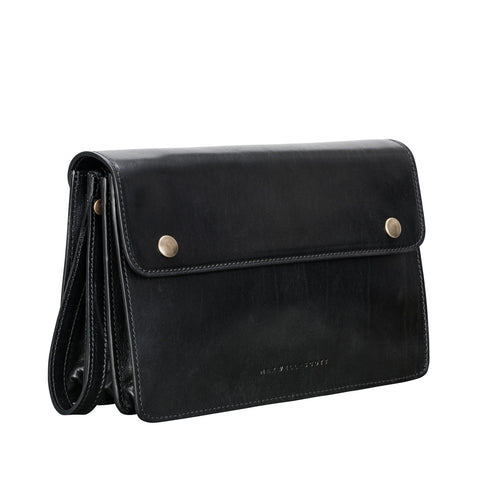 Image 2 of the 'Santino' Black Handmade Veg-Tanned Leather Wrist Bag