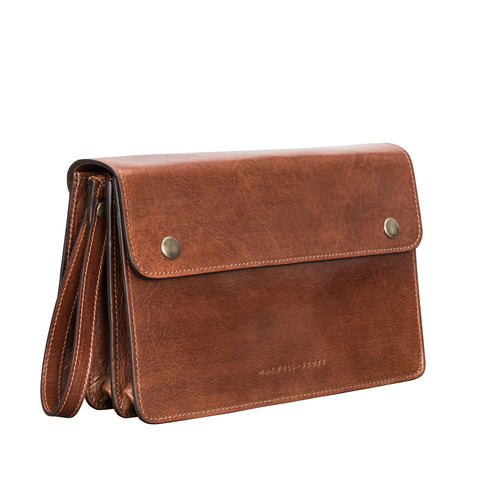 Image 2 of the 'Santino' Chestnut Veg-Tanned Handmade Leather Wrist Bag