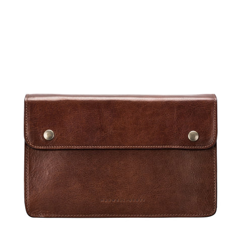 Image 1 of the 'Santino' Chestnut Veg-Tanned Handmade Leather Wrist Bag