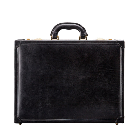 Image 1 of the 'Scanno' Slim Black Veg-Tanned Leather Business Attache Case