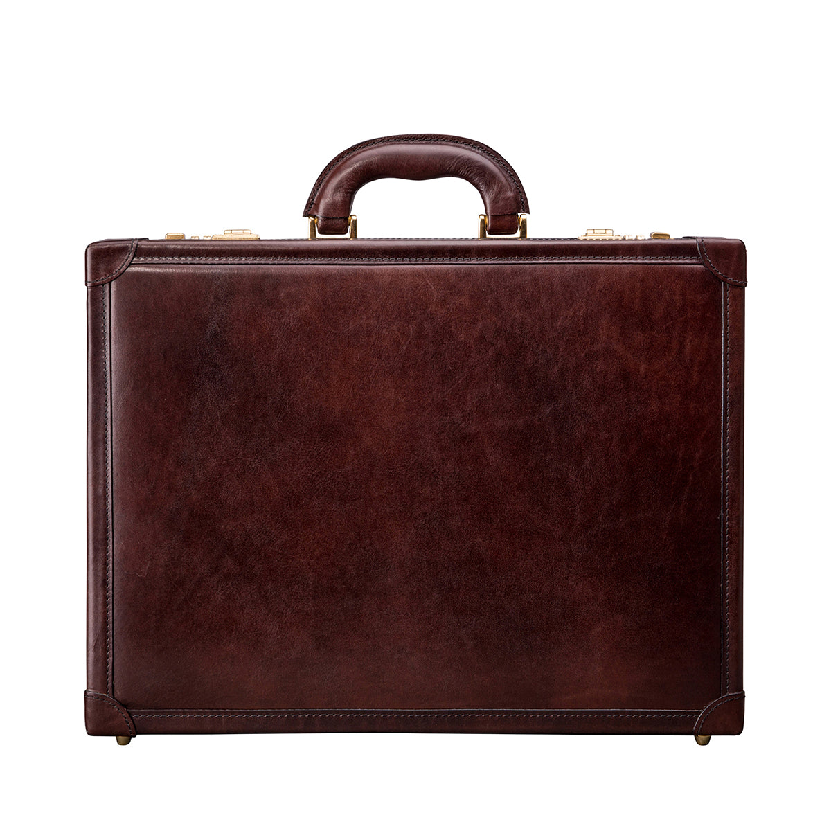 Image 1 of the 'Scanno' Slim Dark Chocolate Veg-Tanned Leather Business Attaché  Case