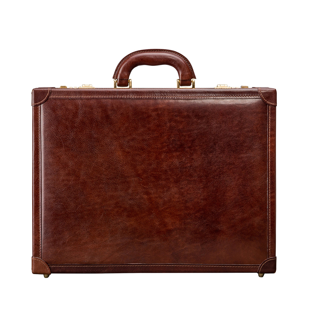 Image 1 of the 'Scanno' Slim Chestnut Veg-Tanned Leather Business Attaché Case