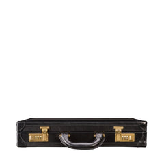 Image 4 of the 'Scanno' Slim Black Veg-Tanned Leather Business Attache Case