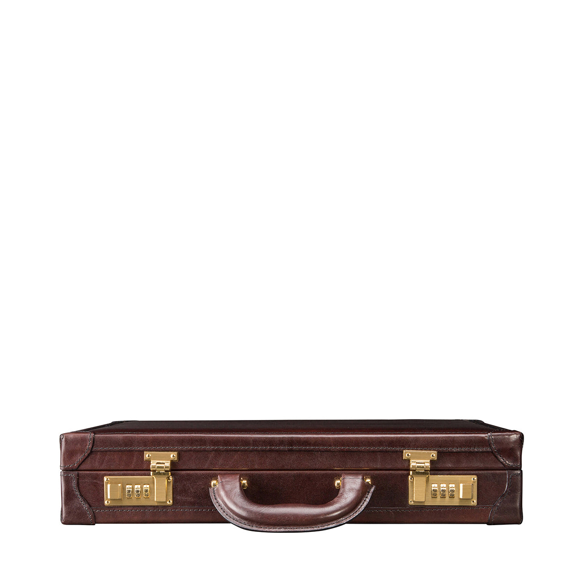 Image 4 of the 'Scanno' Slim Dark Chocolate Veg-Tanned Leather Business Attaché  Case
