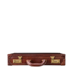 Image 4 of the 'Scanno' Slim Chestnut Veg-Tanned Leather Business Attaché Case