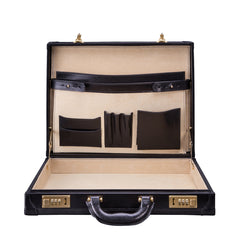 Image 5 of the 'Scanno' Slim Black Veg-Tanned Leather Business Attache Case