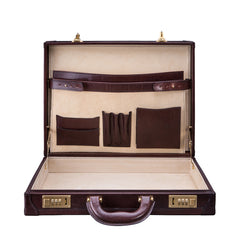 Image 5 of the 'Scanno' Slim Dark Chocolate Veg-Tanned Leather Business Attaché  Case