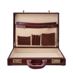 Image 5 of the 'Scanno' Slim Chestnut Veg-Tanned Leather Business Attaché Case