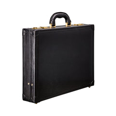 Image 2 of the 'Scanno' Slim Black Veg-Tanned Leather Business Attache Case