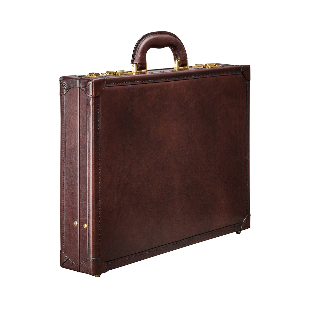 Image 2 of the 'Scanno' Slim Dark Chocolate Veg-Tanned Leather Business Attaché  Case