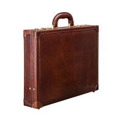 Image 2 of the 'Scanno' Slim Chestnut Veg-Tanned Leather Business Attaché Case