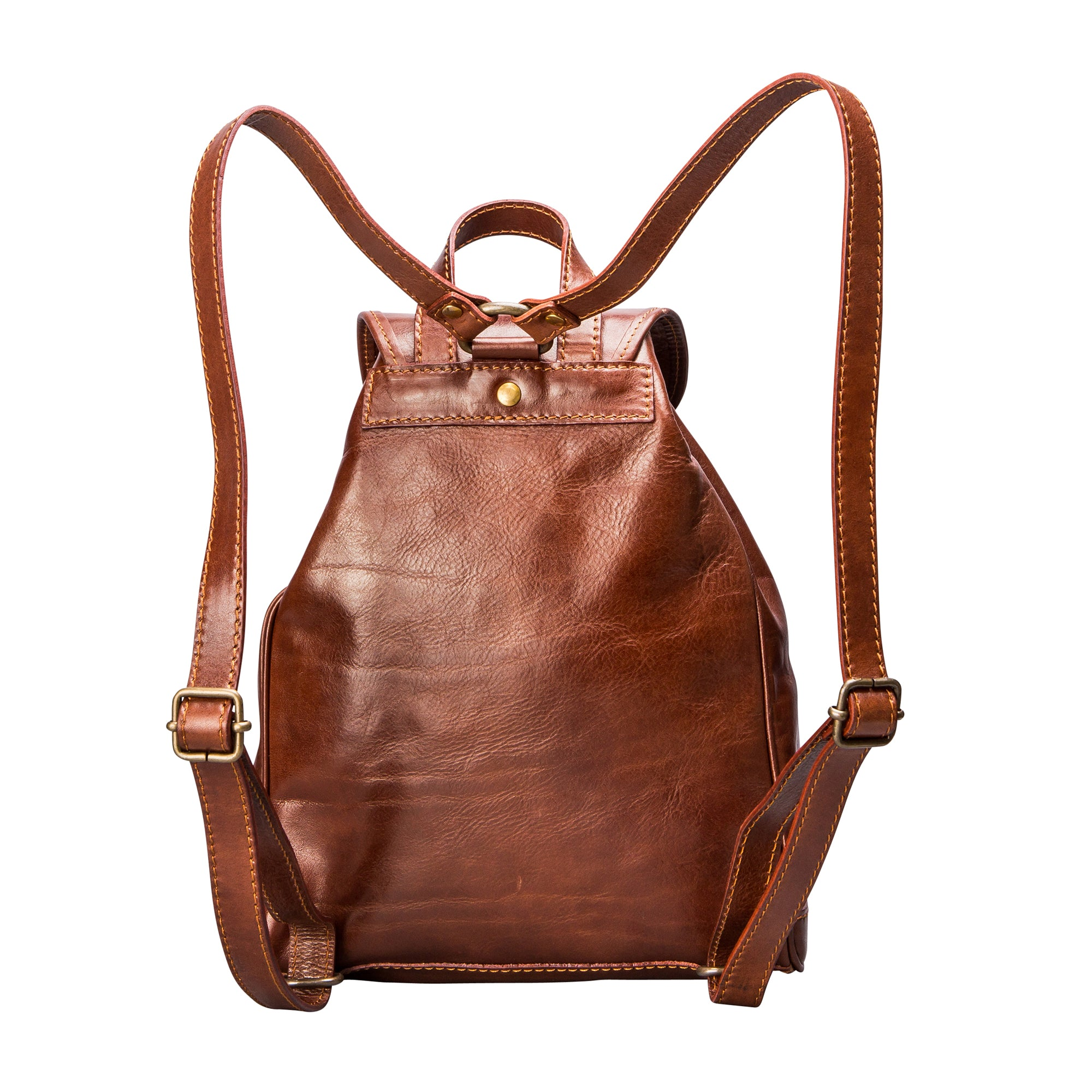 Image 4 of the 'Sparano' Chestnut Veg-Tanned Leather Backpack