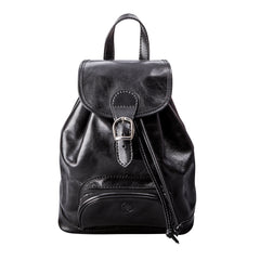Image 1 of the 'Sparano' Black Veg-Tanned Leather Backpack