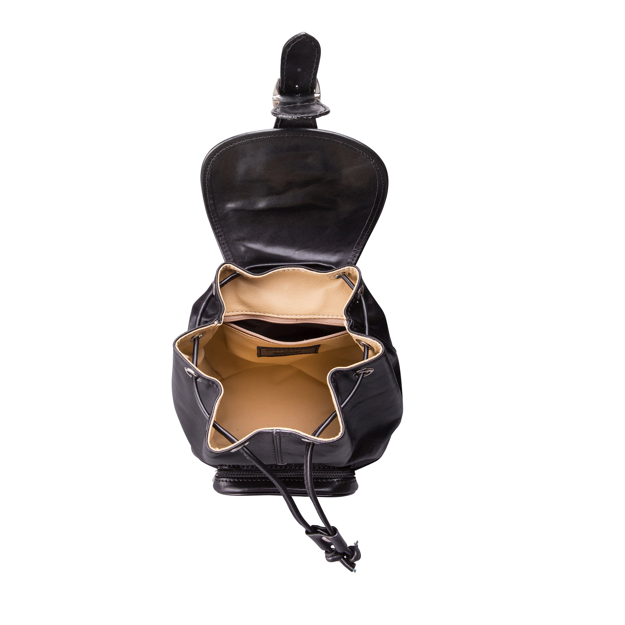 Image 5 of the 'Sparano' Black Veg-Tanned Leather Backpack