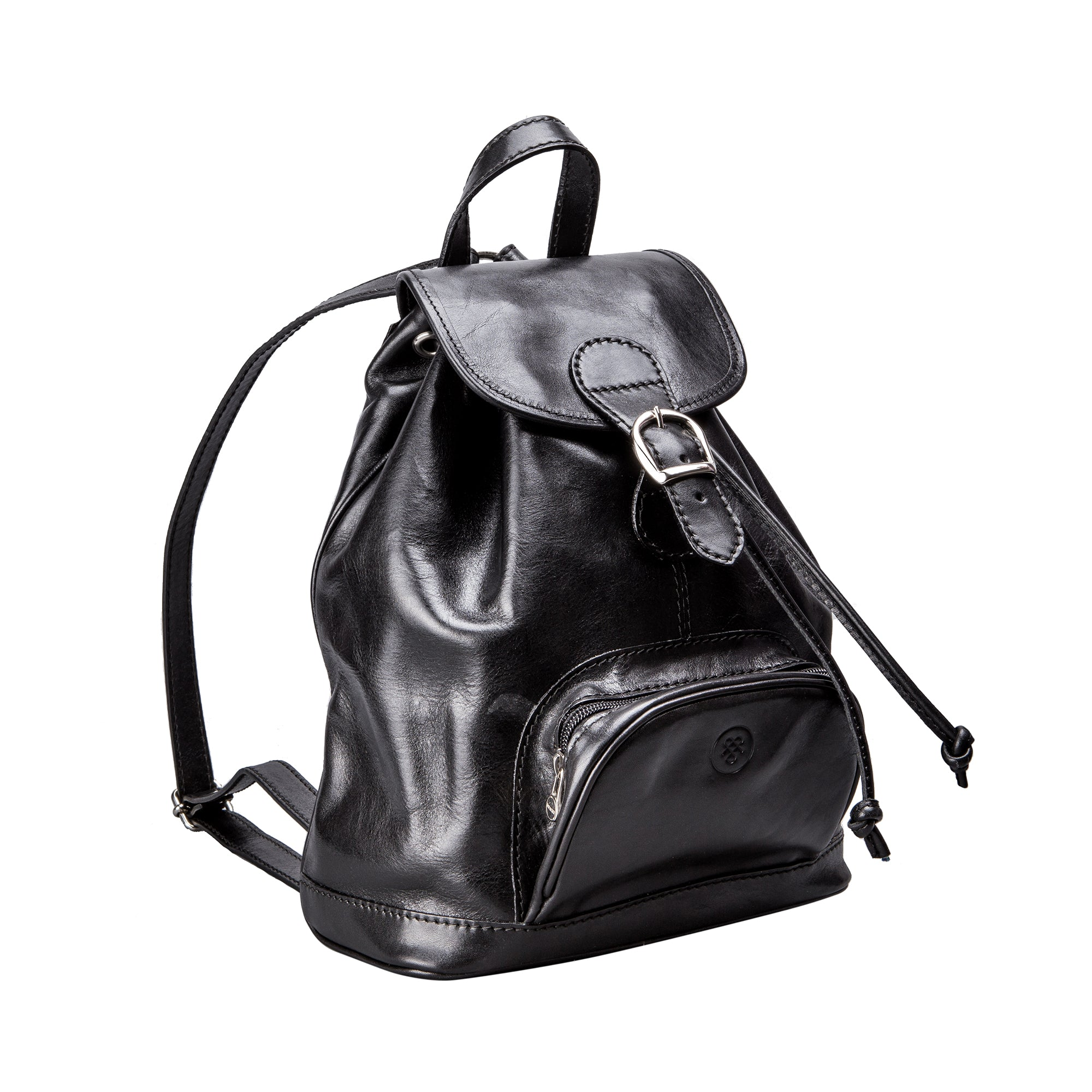Image 2 of the 'Sparano' Black Veg-Tanned Leather Backpack