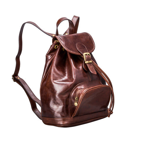 Image 1 of the 'Sparano' Dark Chocolate Veg-Tanned Leather Backpack