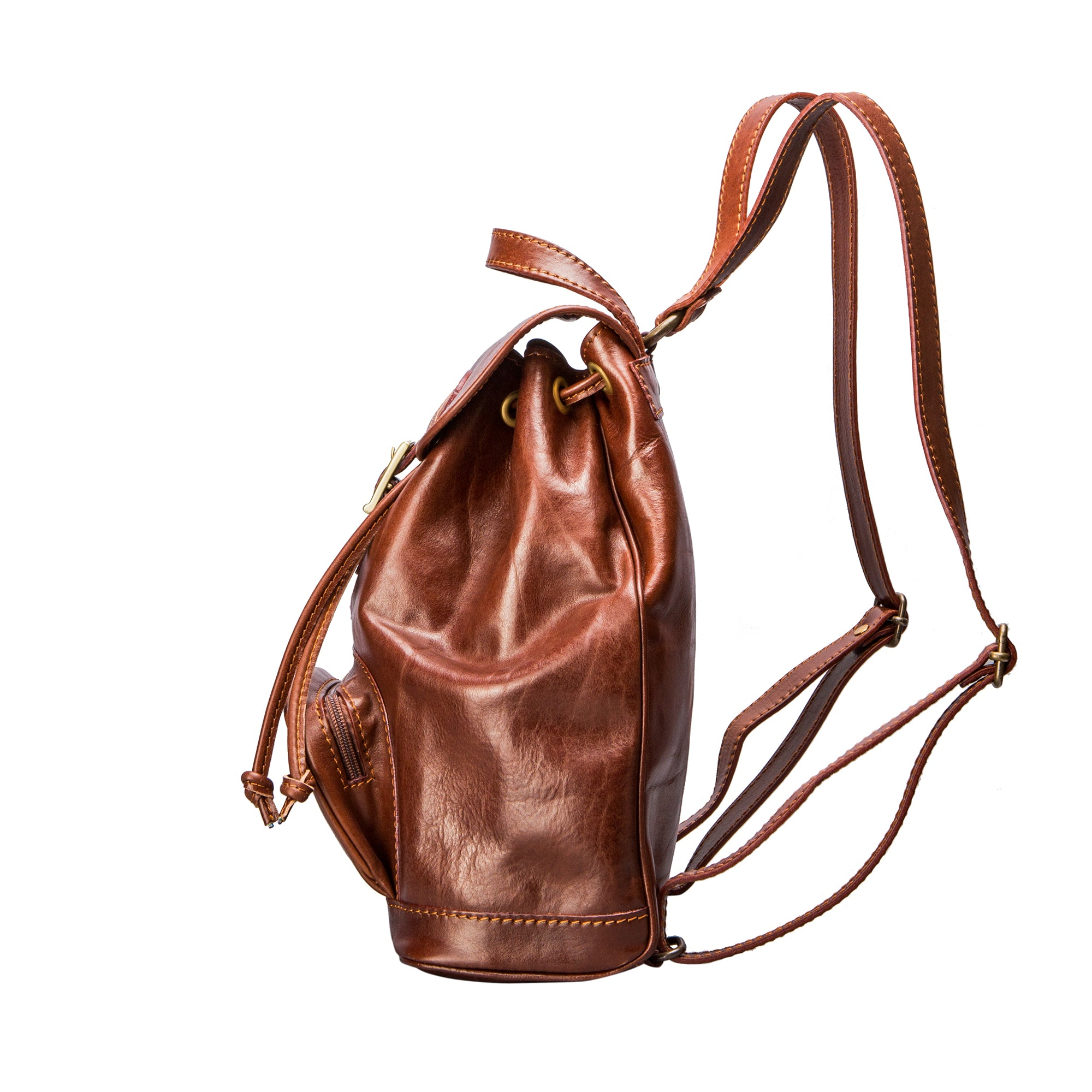 Image 3 of the 'Sparano' Chestnut Veg-Tanned Leather Backpack