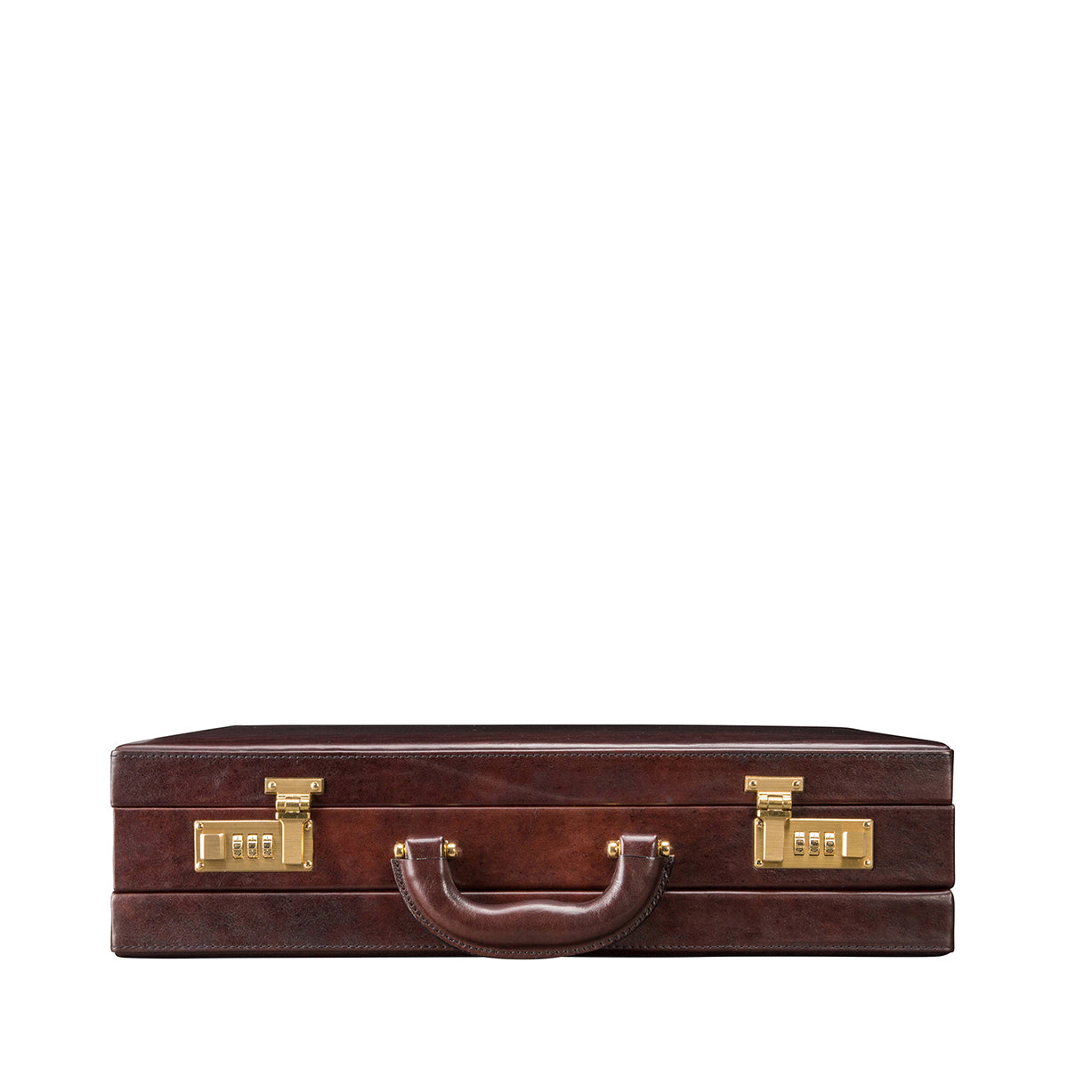 Image 4 of the 'Strada' Dark Chocolate Veg-Tanned Leather Business Attaché  Case