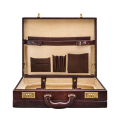 Image 5 of the 'Strada' Dark Chocolate Veg-Tanned Leather Business Attaché  Case