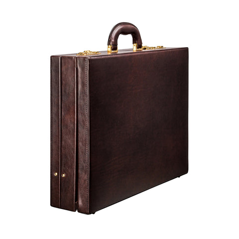 Image 2 of the 'Strada' Dark Chocolate Veg-Tanned Leather Business Attaché  Case