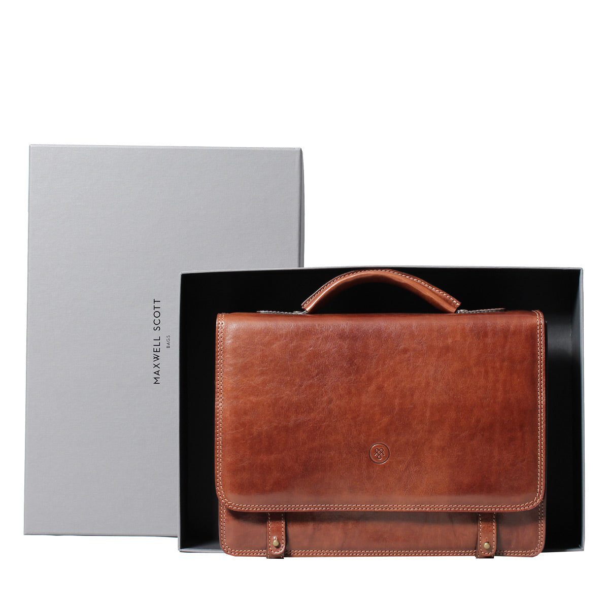 Image 7 of the 'Battista' Brown Veg-Tanned Leather Satchel Briefcase