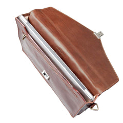 Image 5 of the 'Lorenzo' Chestnut Veg-Tanned Slim Briefcase
