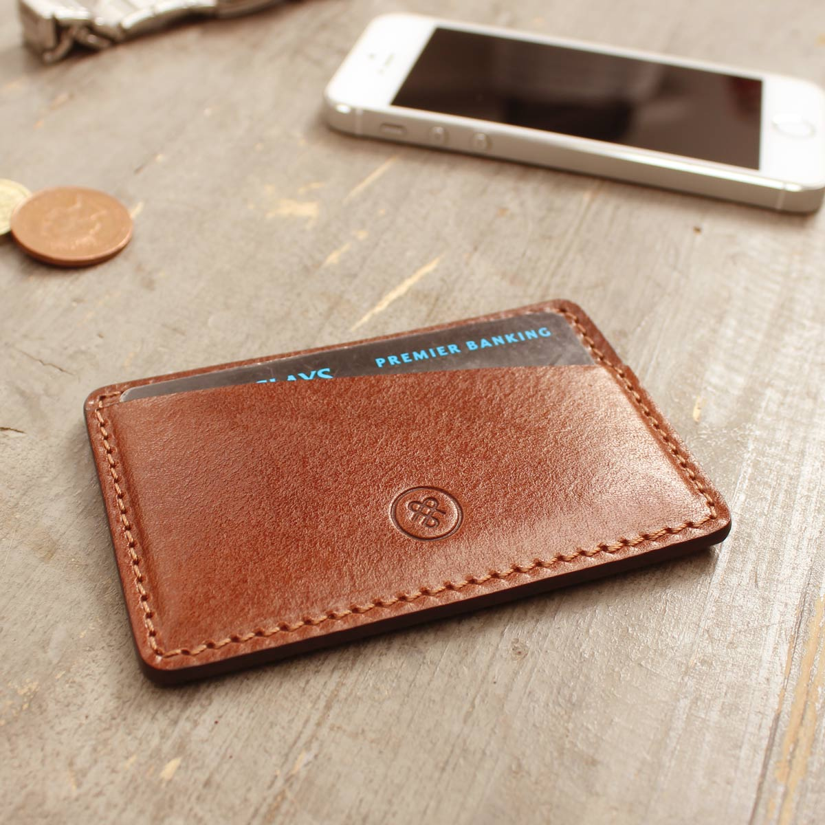 Image 6 of the 'Max' Tan Leather Business Card Holder
