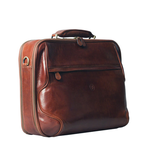Image 2 of the 'Volterra' Chestnut Veg Tanned Leather Laptop Case