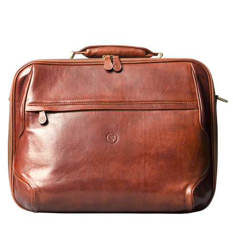 Image 1 of the 'Volterra' Chestnut Veg Tanned Leather Laptop Case