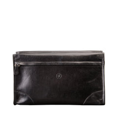 Image 1 of the 'Tanta' Black Veg-Tanned Leather Wash Bag