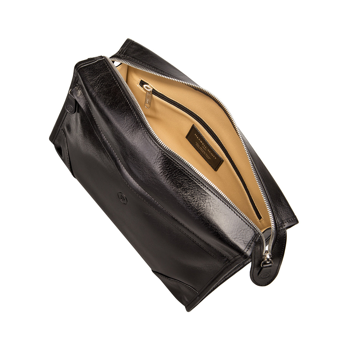 Image 5 of the 'Tanta' Black Veg-Tanned Leather Wash Bag