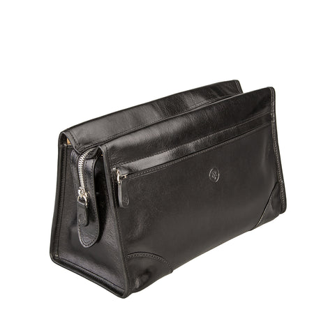 Image 2 of the 'Tanta' Black Veg-Tanned Leather Wash Bag