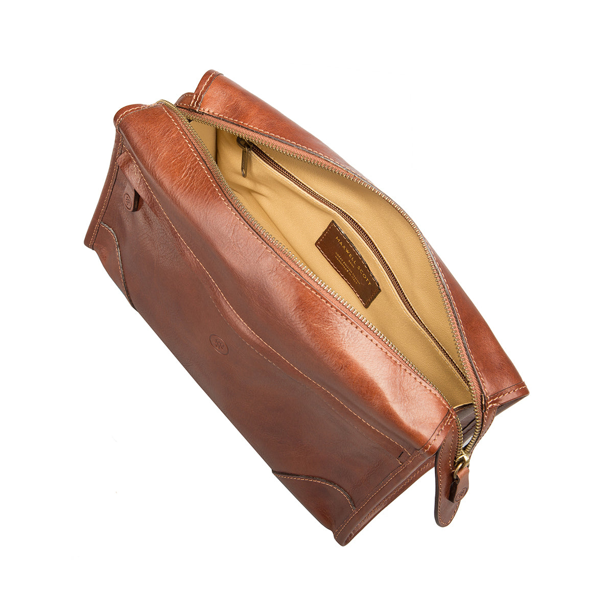 Image 5 of the 'Tanta' Chestnut Veg-Tanned Leather Wash Bag