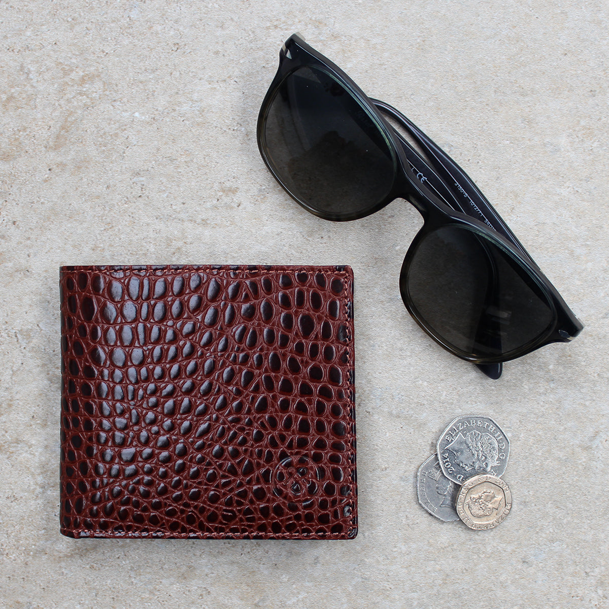 Image 8 of the 'Ticciano' Mock Croc Chocolate Veg-Tanned Leather Wallet with Coin Pocket