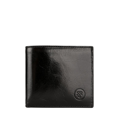 Image 1 of the 'Ticciano' Black Veg-Tanned Leather Wallet with Coin Pocket