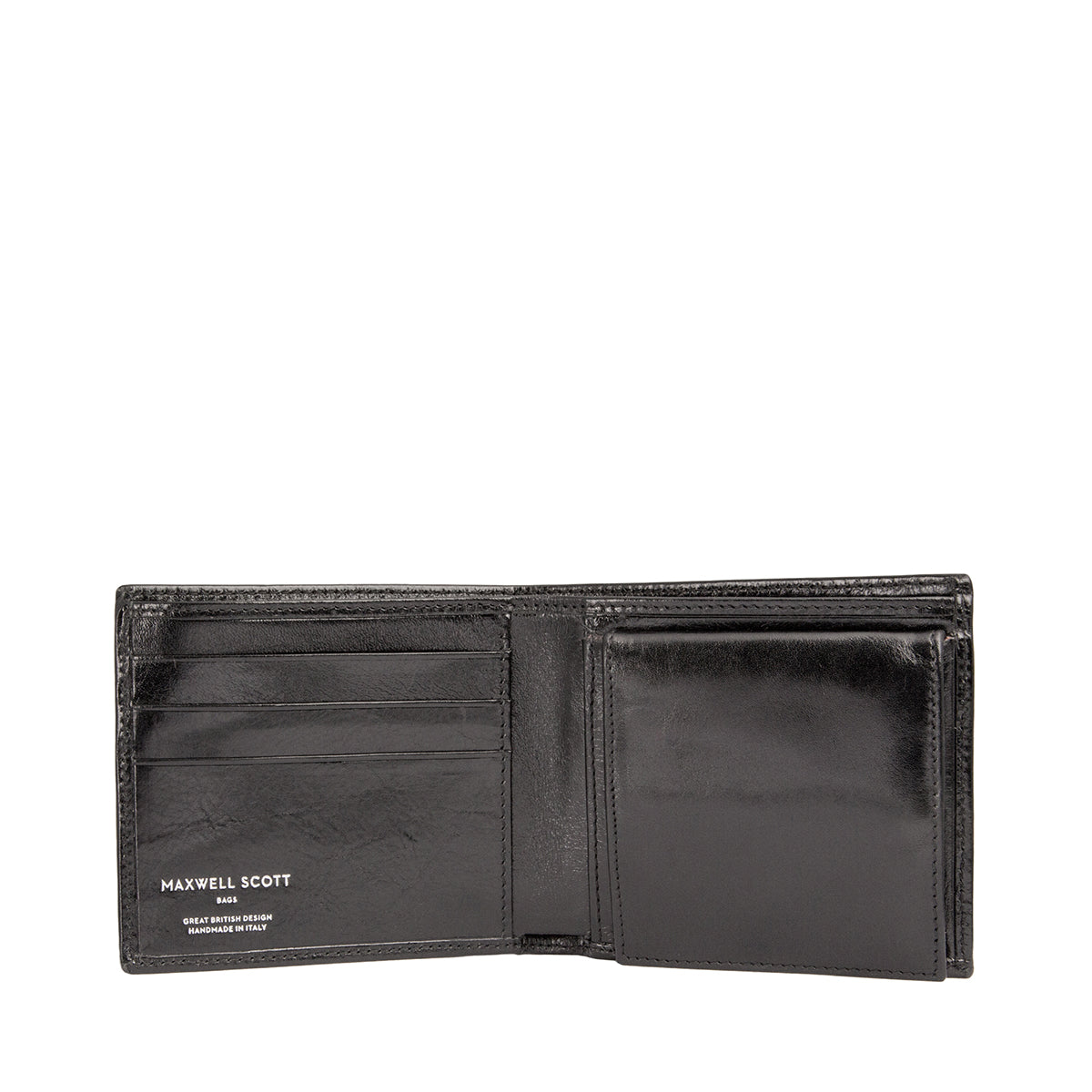 Image 2 of the 'Ticciano' Black Veg-Tanned Leather Wallet with Coin Pocket