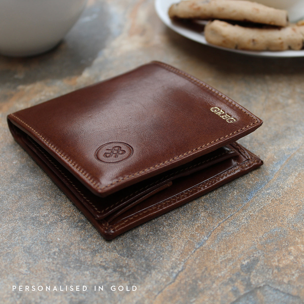 Image 9 of the 'Ticciano' Chestnut Veg-Tanned Leather Wallet with Coin Pocket