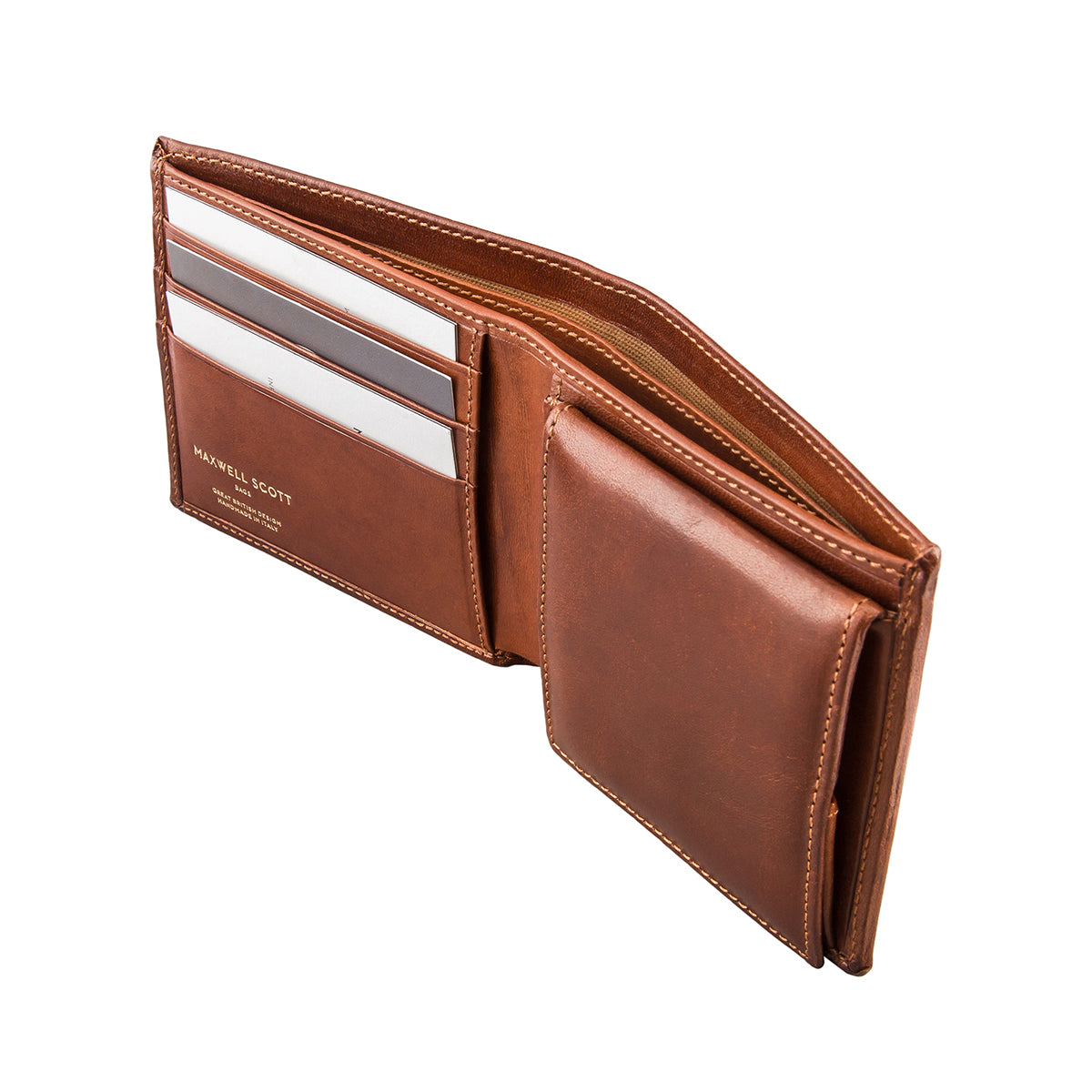 Image 4 of the 'Ticciano' Chestnut Veg-Tanned Leather Wallet with Coin Pocket