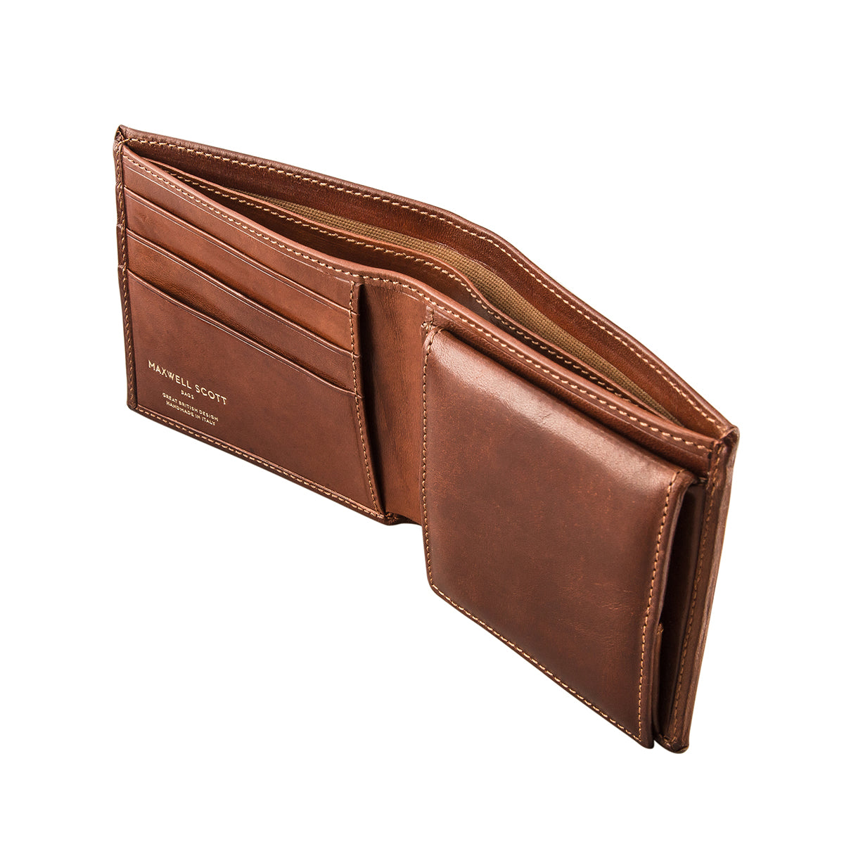 Image 3 of the 'Ticciano' Chestnut Veg-Tanned Leather Wallet with Coin Pocket