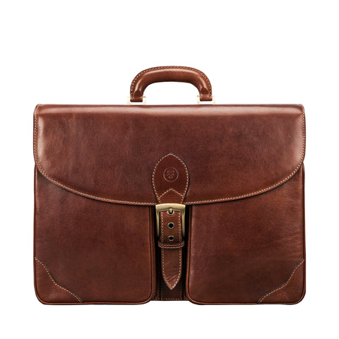 Image 1 of the 'Tomacelli' Handmade Chestnut Veg-Tanned Briefcase