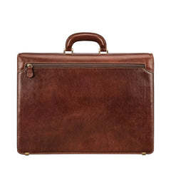 Image 4 of the 'Tomacelli' Handmade Chestnut Veg-Tanned Briefcase