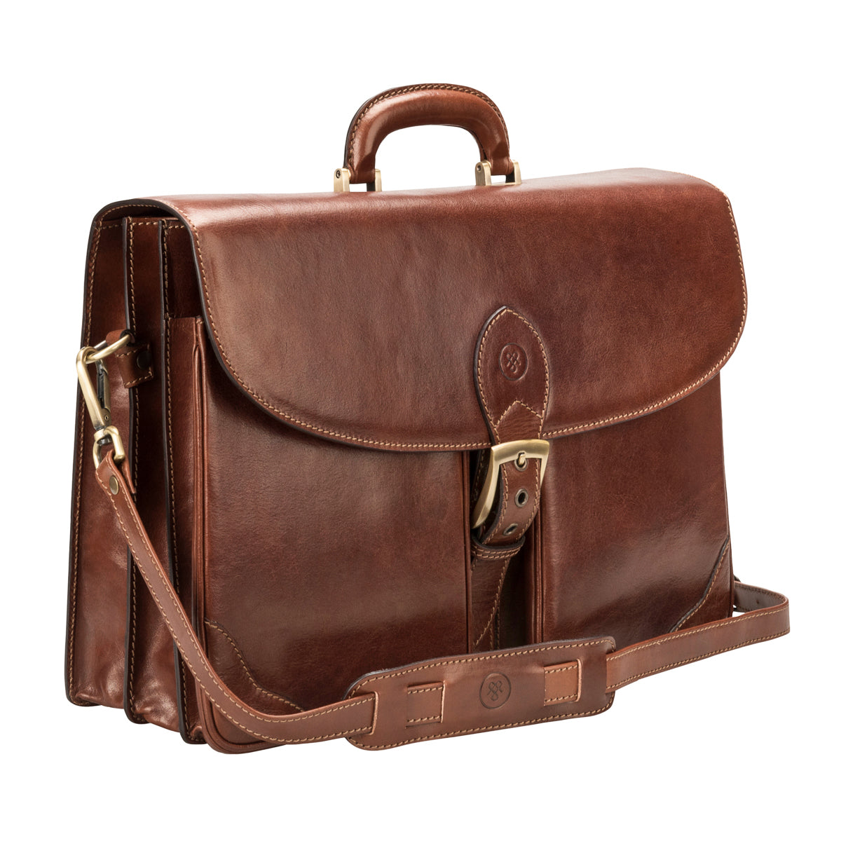 Image 2 of the 'Tomacelli' Handmade Chestnut Veg-Tanned Briefcase
