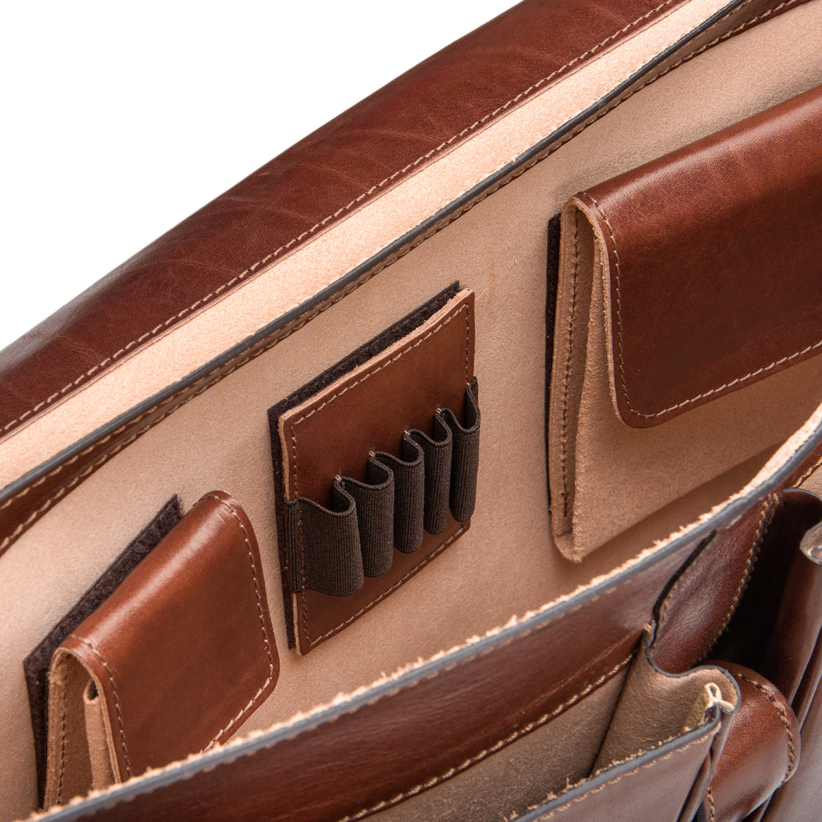 Image 5 of the 'Tomacelli' Handmade Chestnut Veg-Tanned Briefcase