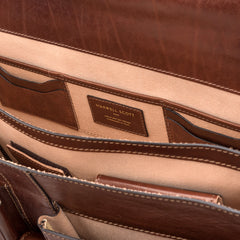 Image 6 of the 'Tomacelli' Handmade Chestnut Veg-Tanned Briefcase