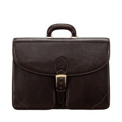 Image 1 of the 'Tomacelli' Handmade Dark Chocolate Veg-Tanned Briefcase