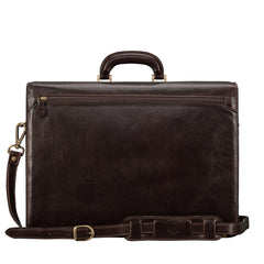 Image 4 of the 'Tomacelli' Handmade Dark Chocolate Veg-Tanned Briefcase