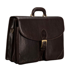 Image 2 of the 'Tomacelli' Handmade Dark Chocolate Veg-Tanned Briefcase